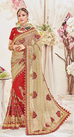 Beige & Red Net Saree With Red Blouse
