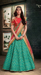 Net Green Embrodiered Lehenga With Cold Shoulder Choli And Dupatta