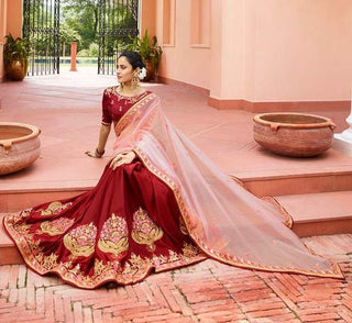 Maroon P*P Party Wear  Saree With Blouse