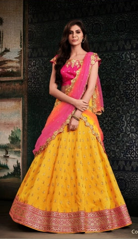 Yellow Lehenga With Heavy Border Pink Open Back Choli And Dupatta