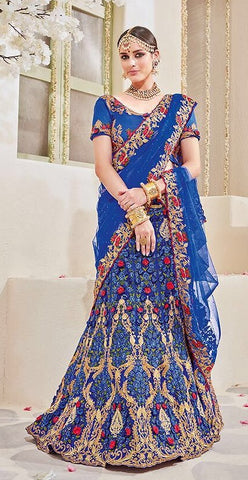 Blue Lehenga Saree With Designer Blouse