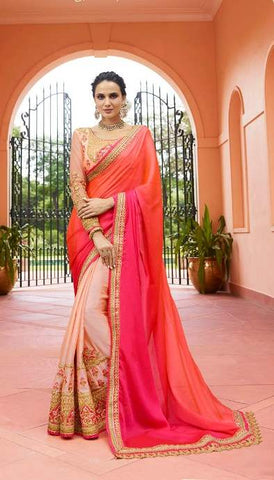 Pink Orange Silk Party Wear  Saree With Blouse