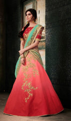 Red Shaded Lehenga With Work, Dark Red Choli With Dupatta With Embroidered Border