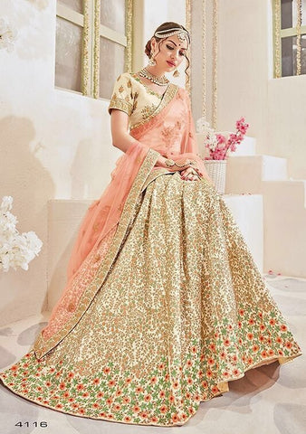 Golden & Peach Designer Lehenga Saree With Heavy Work Blouse