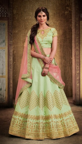 Light Green Lehenga Choli  With Heavy Embroidery And Border With Peach Dupatta