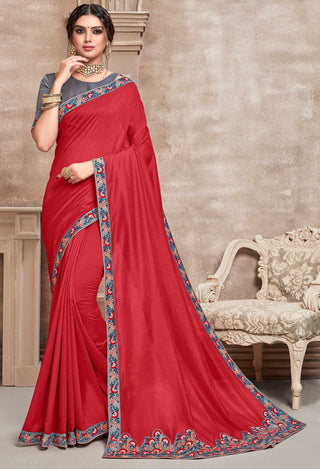 Red Poly Silk Party Wear Saree With Blue Blouse