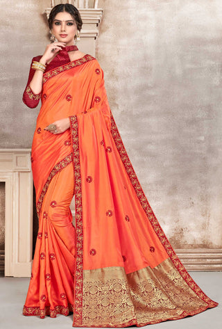 Orange Poly Silk Party Wear Saree With Maroon Blouse