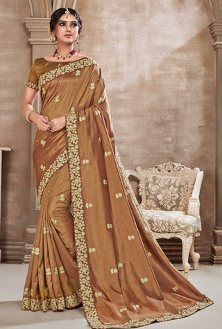Brown Poly Silk Party Wear Saree With Gold Blouse