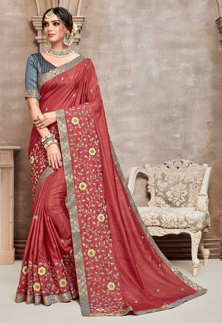 Red Poly Silk Party Wear Saree With Silver Blouse