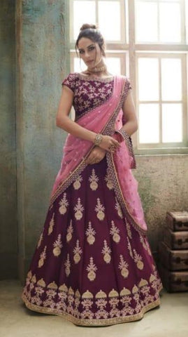 Purple Net Party Wear Lehenga With Pink Dupatta
