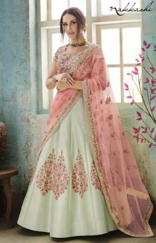 Green Net Party Wear Lehenga With Pink Dupatta
