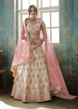 Beige Net Party Wear Lehenga With Pink Dupatta