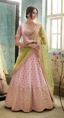 Pink Net Party Wear Lehenga With Green Dupatta
