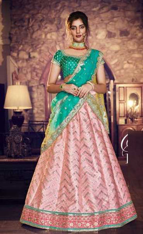 Peach Silk Party Wear Lehenga With Blue Choli And Blue Dupatta