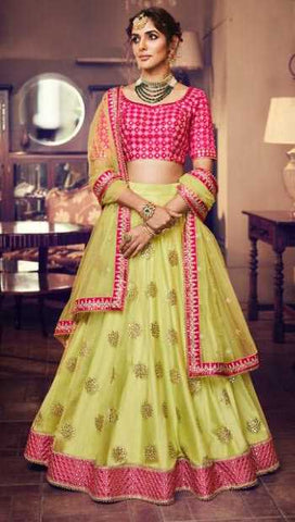 Yellow Silk Party Wear Lehenga With Magenta Choli And Yellow Dupatta