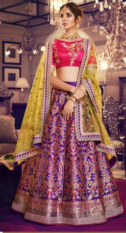 Purple Silk Party Wear Lehenga With Pink Choli And Yellow Dupatta