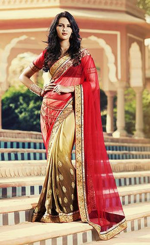 Saree Red , Beige,Net