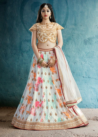 White Silk Party Wear Lehenga With Beige Dupatta