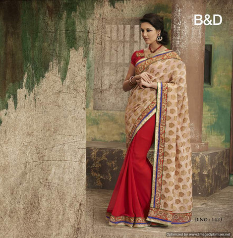 Red and Beige Bemberg Saree with hand work and Embroidery