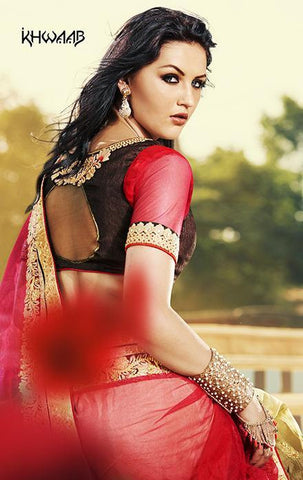 Saree with red net fabric pallu and along with shaded skirt with embroidery lace border
