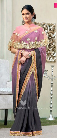 Multicolor Silk  ponchu Stylte Saree with Blouse