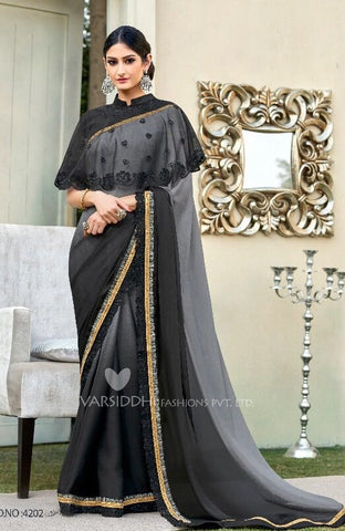 Black Georgette  Ponchu Style Saree with Blouse