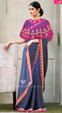 Grey Georgette Ponchu Style Saree with Blouse