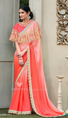 Red Georgette Ponchu Style Saree With Blouse