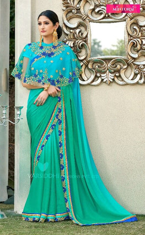 Cyan Georgette Poncho Style Saree With Blouse