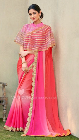Pink Georgette Ponchu Style Saree With Blouse