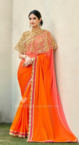 OranGe Georgette Poncho Style Saree With Blouse