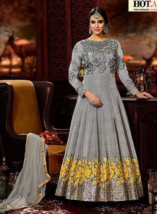 Silver Grey Anarkali With Embrodiery With Dupatta
