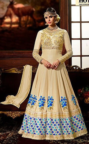 Beige Floral Patch Work Abaya Style Anarkali With Dupatta