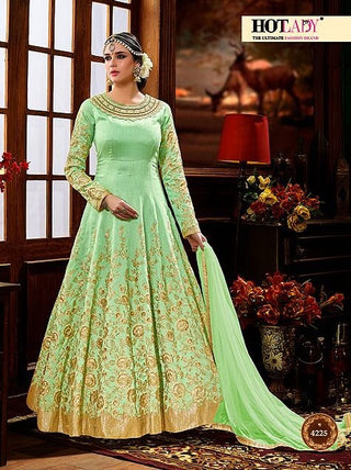 Light Green In Zari Embroidery Abaya Style Anarkali With Dupatta