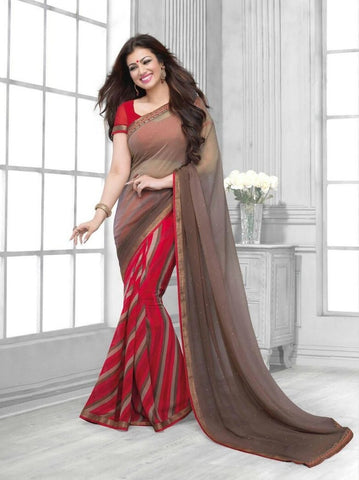 Saree Georgette Brown , Red