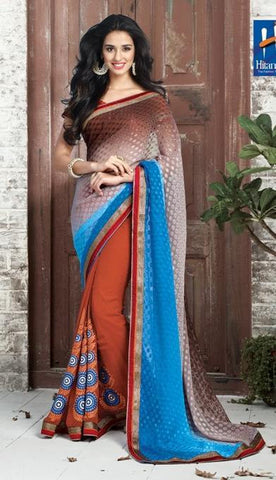 Multicolor,Half Viving , Half georgette,Designer saree half & half fabric with embroidery work