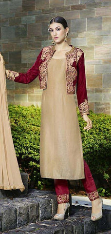 Straight knee length designer beige salwar suits with maroon embroidered jacket