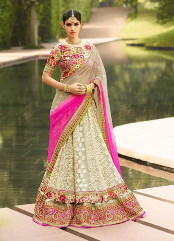 Grey,Net,Heavy bridal lehenga with heavy embroidery for wedding