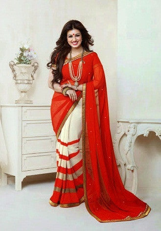 Saree Red,Georgette