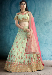 Green Silk Party Wear Lehenga With Pink Dupatta