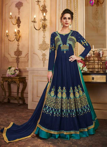 Blue Faux Georgette Party Wear Anarkali With Blue Dupatta