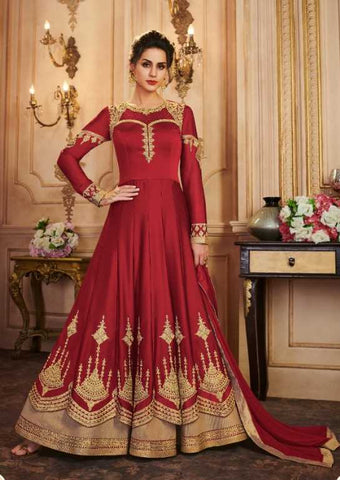 Maroon Faux Georgette Party Wear Anarkali Dress With Maroon Dupatta