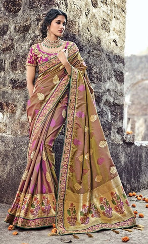 Beigw Pure Silk Saree With Blouse