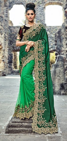 Dark Green Pure Silk Saree With Blouse