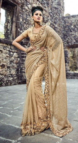 Golden Heavy Net Saree With Silk Blouse
