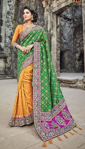Green & Orange Silk Saree With Orange Blouse