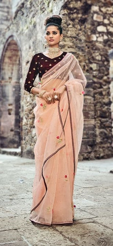 Designer Net Saree With Peach Velvet Blouse