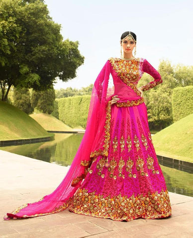 Pink,Satin Silk,Heavy bridal lehenga with heavy embroidery for wedding