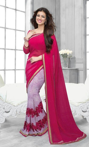 Saree Georgette Pink