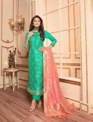 Green Silk Party Wear Salwar Kameez With  Dupatta